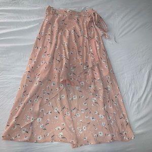 Boutique floral high low wrap skirt